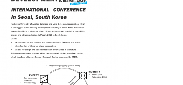 International Conference: SMART URBAN REGENERATION & SMART CITY DEVELOPMENT in Seoul/South Korea, 8. March, 2019